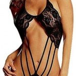 Dreamy house Super Sexy Lingerie Women Black Lace Backless Teddie