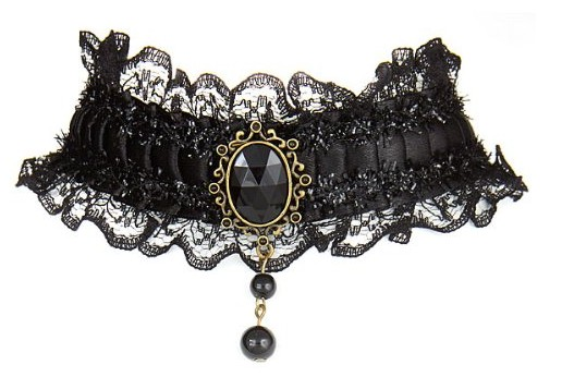 Unique Black Victorian Burlesque Gothic Style Black Lace Choker