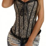 Wingler Womens Sexy Bustier Hot Corset Fashion Obscure Lace silver