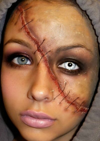Full Face Scar Halloween Makeup Idea