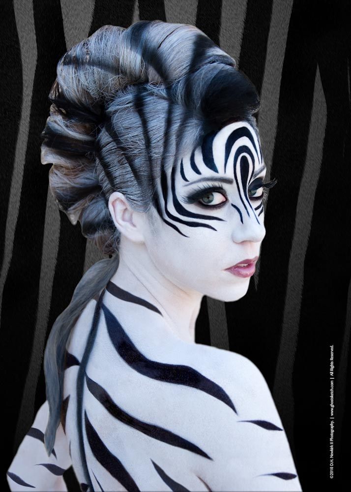 Zebra Woman Halloween Face and Body Makeup Idea