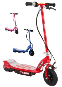 E100 Razor red blue pink electric scooter