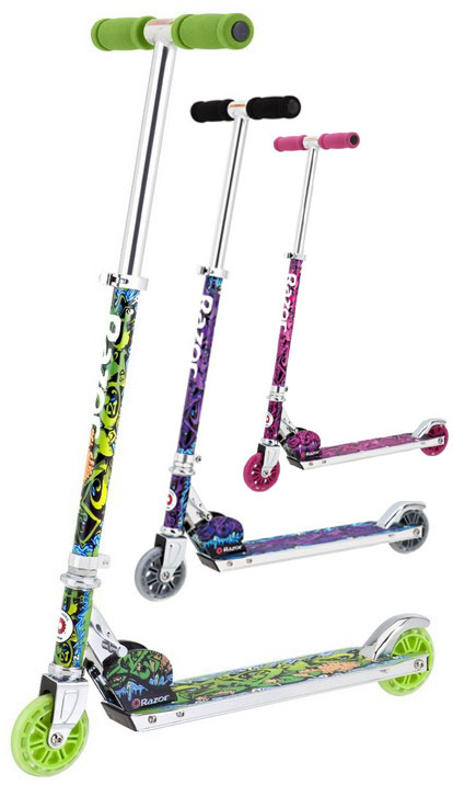 Razor Wild Style Kick Scooters green purple pink